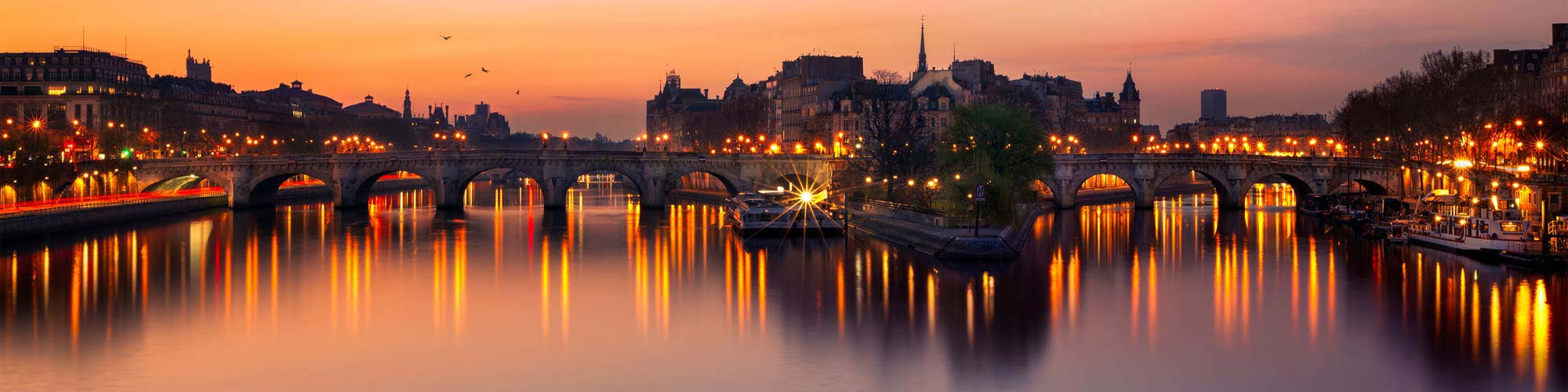 View of the Seine river at sunset